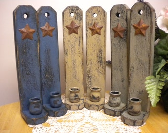 Candle Sconce with Rusty Star - Made To Order, Candle Holders, Wall Sconces, Primitive Country Decor