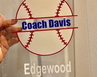 Baseball Softball Coach gift personalized Clipboard with Name, Any sport, custom clear or storage clipboard case, Baseball player team gift