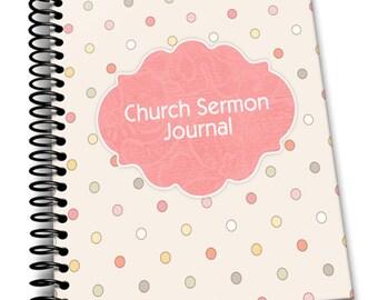Dotty Weekly Sermon  Journal   8 x 10   Spiral Bound Notebook   Weekly Sermon Blank Notebook