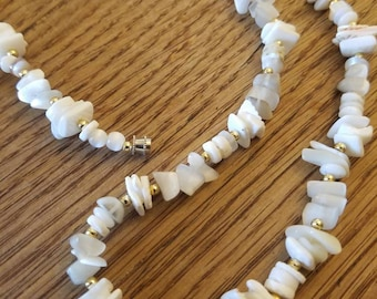 Seashell beaded necklace simple design easy active wear Add Your Own Pendant shell chips shards white ivory natural tone