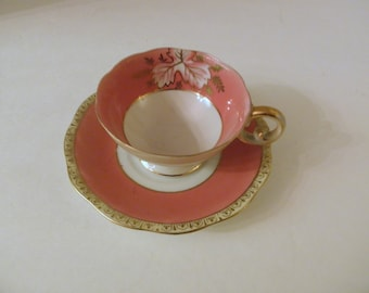 Hand Painted Pink And Gold Gilt Demitasse Teacup and Saucer Leaf Design