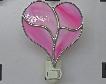 Heart Night Light - Pink Heart Nightlight - Stained Glass Pink Heart Night Light