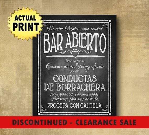 Bar Abierto Spanish Open Bar Drunken Shenanigans wedding bar sign, Spanish Wedding signs, chalkboard wedding print, rustic wedding signage