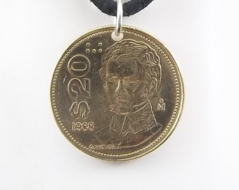 Mexican Coin Necklace, 20 Pesos, Coin Pendant, Leather Cord, Mens Necklace, Womens Necklace, Birth Year, 1988