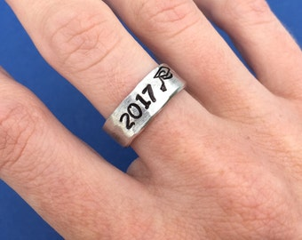 Hand Stamped Ring, Class of 2018, Hammered Ring, Band Cuff Ring, Adjustable Ring, Graduation Gift, Class Ring, Grad Cap, For Him, For Her