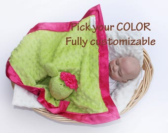 Minky Cactus baby flower baby Security Blanket baby blanket Lovey Blanket Satin Baby Blanket Baby cactus Toy Customize Color Monogramming