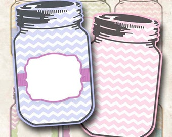 Digital Tags Mason Jar Tags Chevron Tags Gift Tags Hang Tags Double-sided JPEG and PNG Instant Download TG135