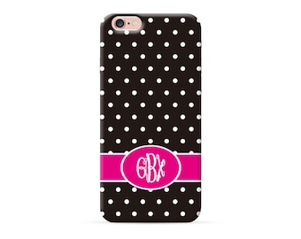 iPhone 8 Case, iPhone 8 Plus Case, iPhone X Case, iPhone 7 Case, iPhone 6 case, Monogram, black polka dots personalized phone case