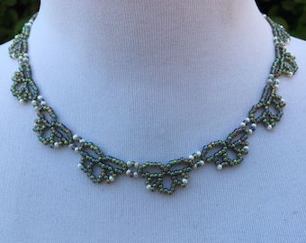 Handcrafted - Delicate - Glass Seed Bead - Lace Like - Beaded Necklace - Iridescent Green - White - Vintage Jewellery - Gift For Her