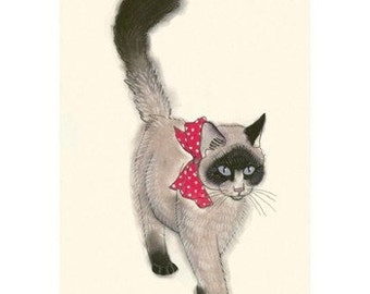 Seal point persian cat art.  The Masked Bandit - 4 X 6 - 4 for 3 SALE
