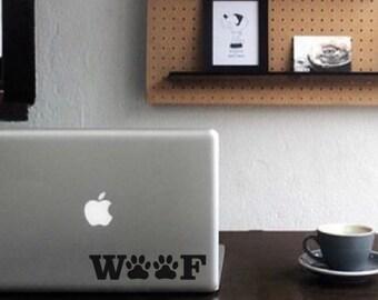 Woof, Laptop Stickers, Laptop Decal, Macbook Decal, Car Decal, Vinyl Decal