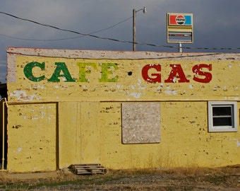 Deaver Cafe - travel photograph - roadside americana yellow building wyoming