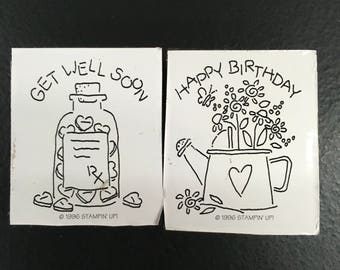 Happy Birthday & Get Well - 2 Foam Rubber Stamps - Stamping - Embossing - Card Making - Scrapbooking - Retired - Stampin Up