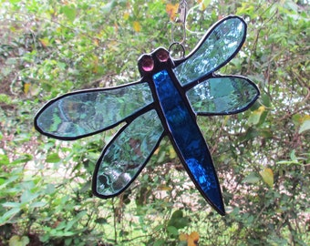 Stained Glass Dragonfly Suncatcher, Glass Dragonfly,Dragonfly Suncatcher,Blue Dragonfly,
