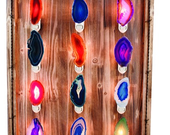 Agate Night Light - Geode Night Light - Gemstone Night Light-  Agate Slice Light - Natural Stone Light - Bathroom Light - Nursery Decoration