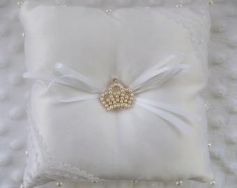 "Wedding Ring Bearer Pillow 6"" by 6"" White Satin"