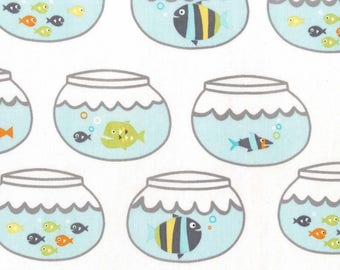 Fish Swimming In Circles Sea 100% Cotton from Michael Miller Fabric's Mer-Mates Collection