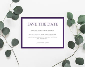 Modern Eggplant Wedding Save the Date Card, Modern Plum Save the Date, Modern Script Save the Date, Timeless Save the Date