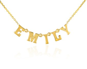 Personalized Name 14kt Gold Necklace. Initial 14kt Gold Necklace. Gevani Jewelry.