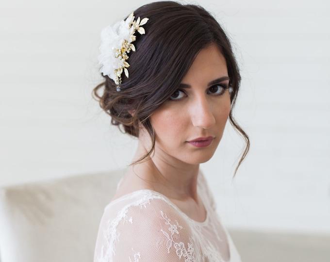 Wedding Hair Accessories, Gold Leaves Headpiece, Blush Flower Headpiece, Ivory Flower Hair Comb, Bridal Hair Accessories, Gold Hair Clip