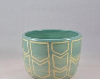Ceramic Planter / Bowl with Chevron Design
