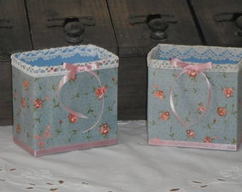 Duo shabby liberty fabric boxes