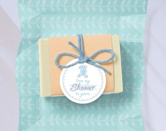 Baby Shower Favor Tag From my Shower to yours Printable Instant Digital Download, Blue bear Baby Shower gift tag baby boy shower, teddy bear