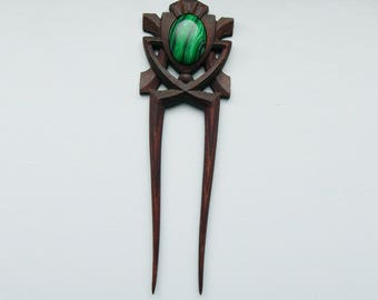Wooden hair fork with natural stone