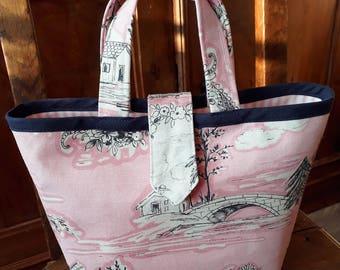 Little Shabby pink Jouy Romance canvas handbag