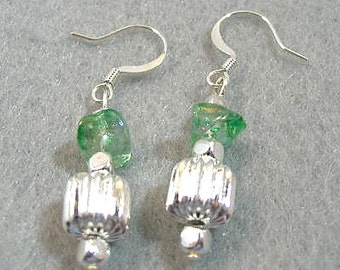Green Glass Chip Bead Earrings, Silver and Green Dangle Earrings, Handmade Beaded Jewelry, St Patricks Day, Gift for Her