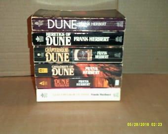 Vintage set of 6 Dune paperbacks by Frank Herbert