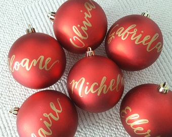 Personalized CHRISTMAS ORNAMENT Hand Lettered calligraphy - One (name only, red ornament)