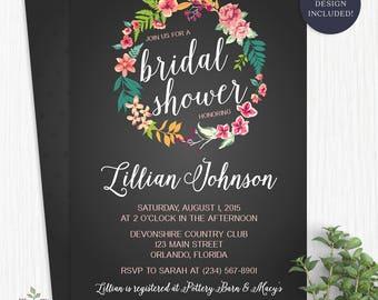 Tropical Bridal Shower Invitation - Chalkboard Island Flowers Hawaiian Luau Bridal Shower Invite Tropical Wedding Shower Party - 2309