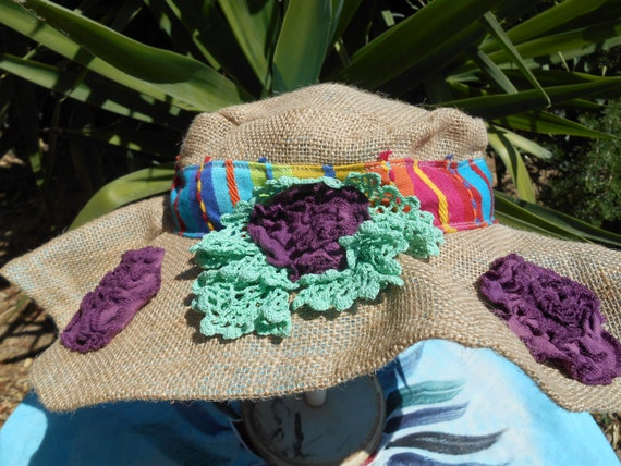 Boho Lacy Roses Burlap Hat Handmade Turquoise Blue Cotton Lined #sophieladydeparis