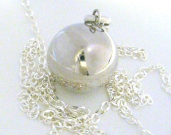 """20mm plain Sterling silver pregnancy bola harmony ball musical jingle chime charm pendant w/ 14"""" -  36"""" chain necklace"""