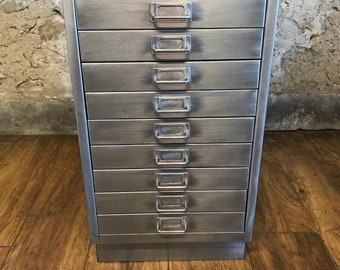 Industrial stripped metal 10 drawer A3 size filing cabinet
