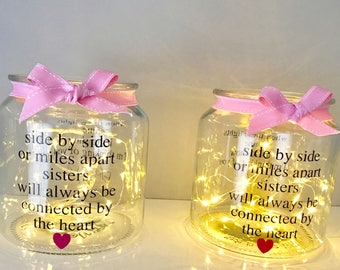 Gifts For Sister, Side By Side Or Miles Apart, Sister Birthday Gift, Big Sister Gift, Sister Gift, Gift For Her, Fairy Light Jar,