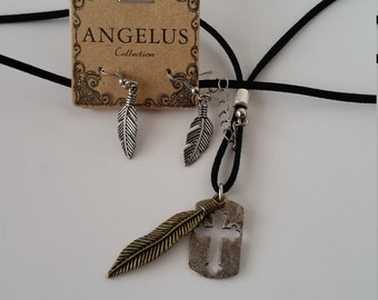 Feather Necklace and Earrings,Necklace and Earrings,South  Style Necklace and Earrings