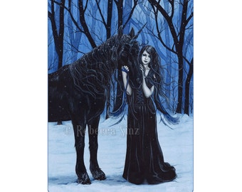 Midnight Travelers ACEO Print Gothic Fairy Unicorn Winter Fantasy Artist Trading Cards ATC Fantasy Art Blue Snow
