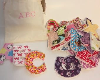 Fabric alphabet letters with embroided carrying case~Girl