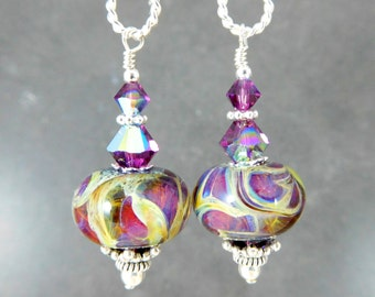 Dark Purple Beige Swirl Glass Dangle Earrings, Lampwork Earrings, Boho Chic Earrings, Rustic, Earth Tones, Bohemian Jewelry Summer Jewelry