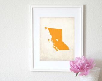 British Columbia Canadian Province Personalized Map Art 8x10 Print