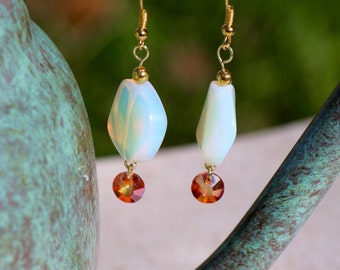 Swarovski Crystal and Opal Glass Earrings