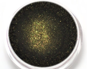 "Black with Gold Shimmer Eyeshadow - ""Goldmine"" - Vegan Mineral Makeup"