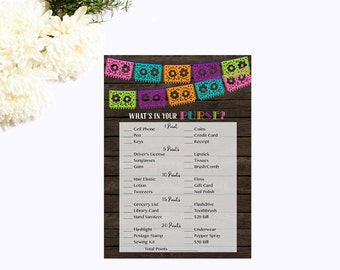 What's in Your Purse Shower Game, Whats in Your Purse Game, Fiesta Bridal Shower Baby Shower Instant Download Printable