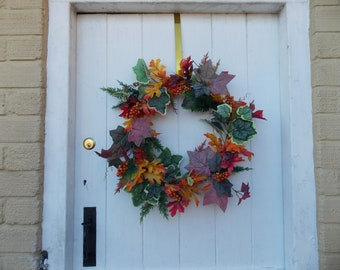 Autumn Foliage and Berry Door Wreath, Fall, Thanks Giving, 14'' (36cm)