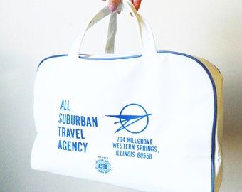 Vintage Weekender Bag / Retro 1960s Travel Agency Tote / Mod Vintage Overnighter