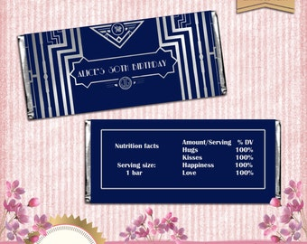 Great Gatsby Art Deco Candy Bar Wrappers - Navy Blue and Silver - EDITABLE text - DOWNLOAD Instantly - Microsoft® Word Format