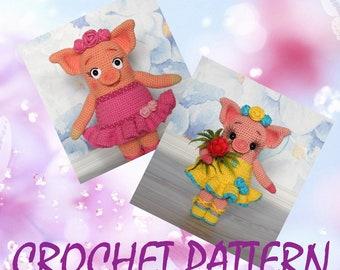 Ballet piggy Doosya - Amigurumi Crochet Pattern by Maria Amelina