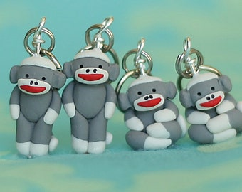 Sock Monkey Stitch Markers set of 4 Miniature Polymer Clay Sculpted Animal Knit Crochet Accessories